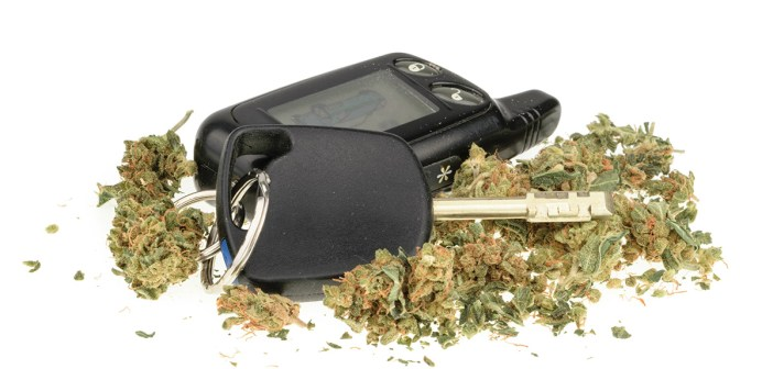 Drugged driving high marijuana and car key isolated on white