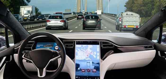 Autonomous self-driving car inside looking out