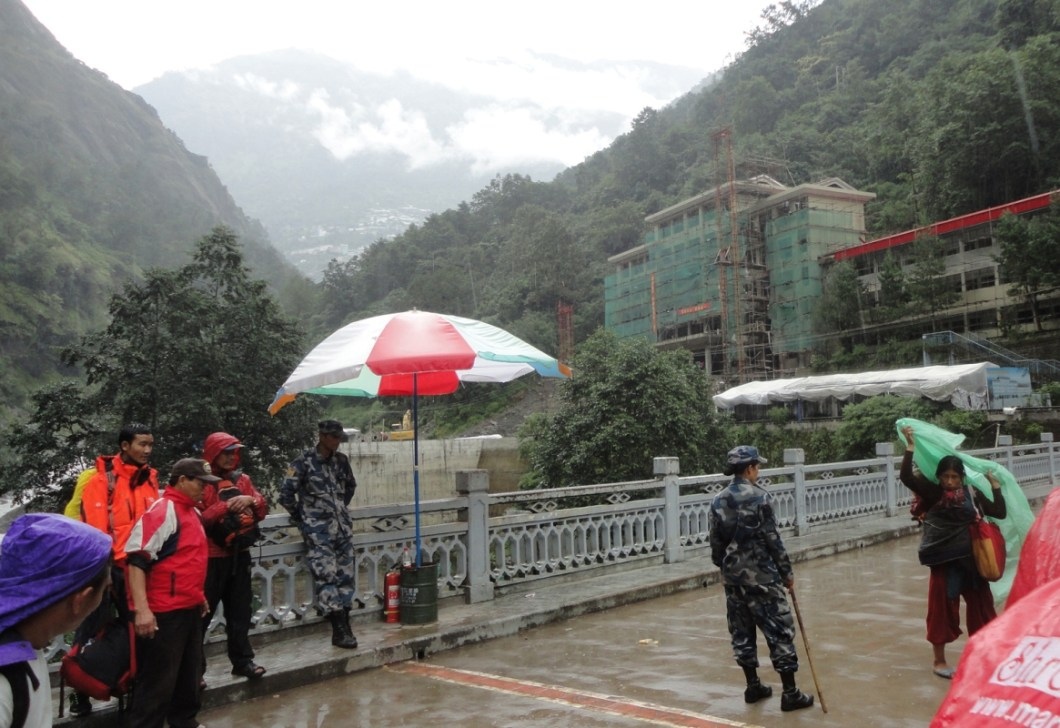 the Friendship bridge between Nepal and China - picture taken on the sly as photography is strictly prohibited