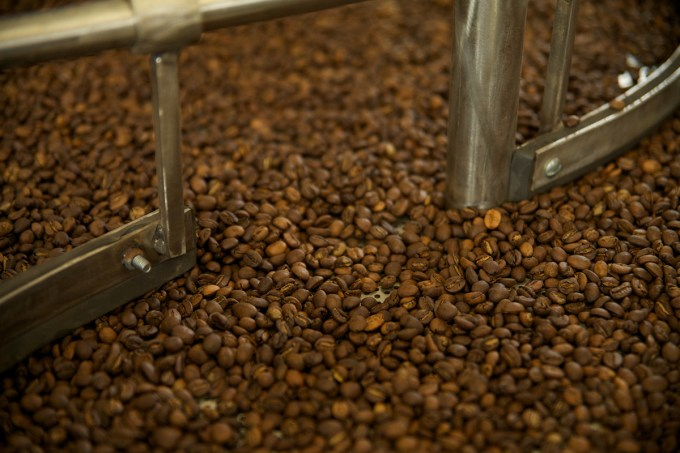 The beans are laid out in the cooling vat.