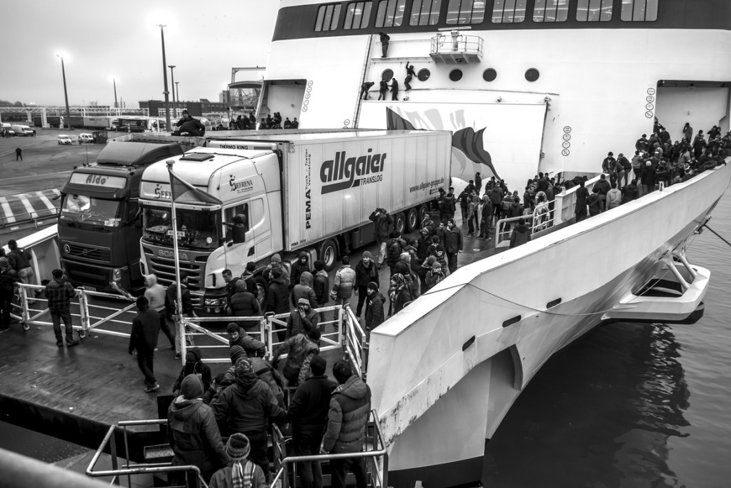 "January, 23, 2016 : Around 200 refugees board on the boat ""Spirit of Britain"". Calais, (62), France."