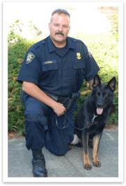 Edo the police canine and handler Officer John Boismier.