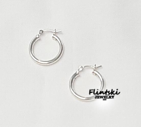 .925 Sterling Silver Small Silver Hoop Earrings
