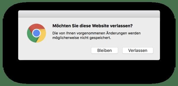 Website Verlassen