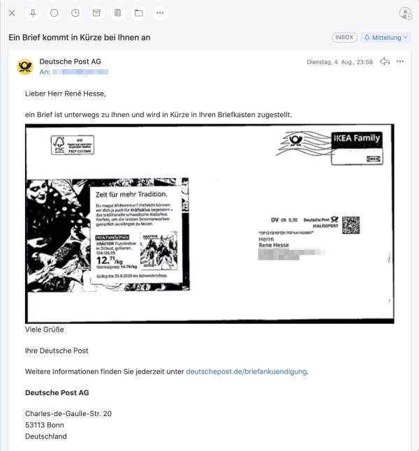 Post Briefankuendigung 1