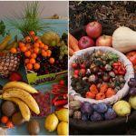 Variedad de vegetales y frutas