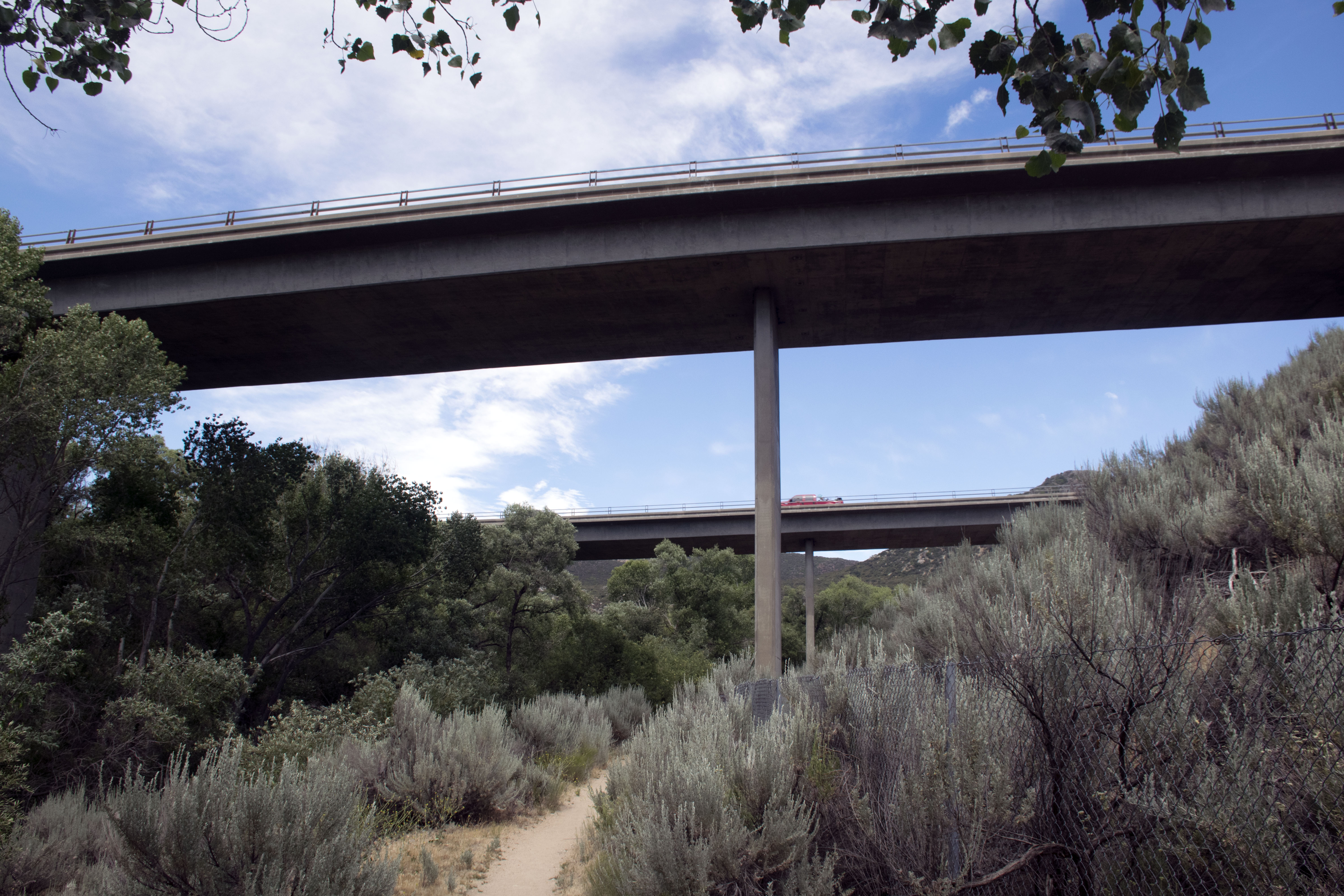 Hiking under Highway 8 on the PCT in California