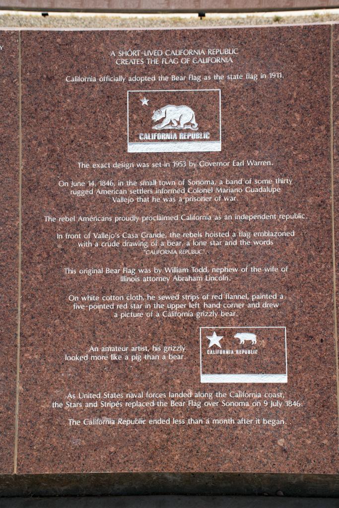 Granite museum at the Center of the World. California Republic Flag