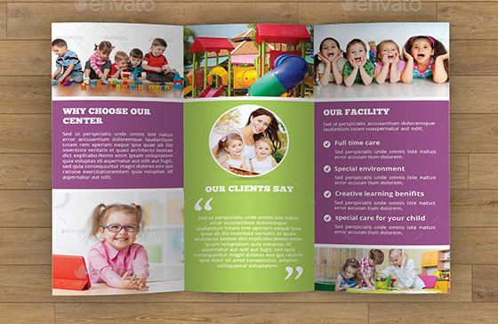 10 Elegant Adobe InDesign Phothop MS Publisher Child Care Brochure