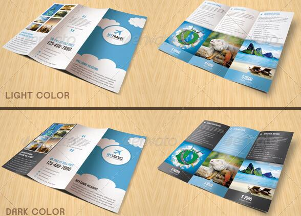 10 Beautiful Trifold Travel Brochure Tempaltes – PSD PDF