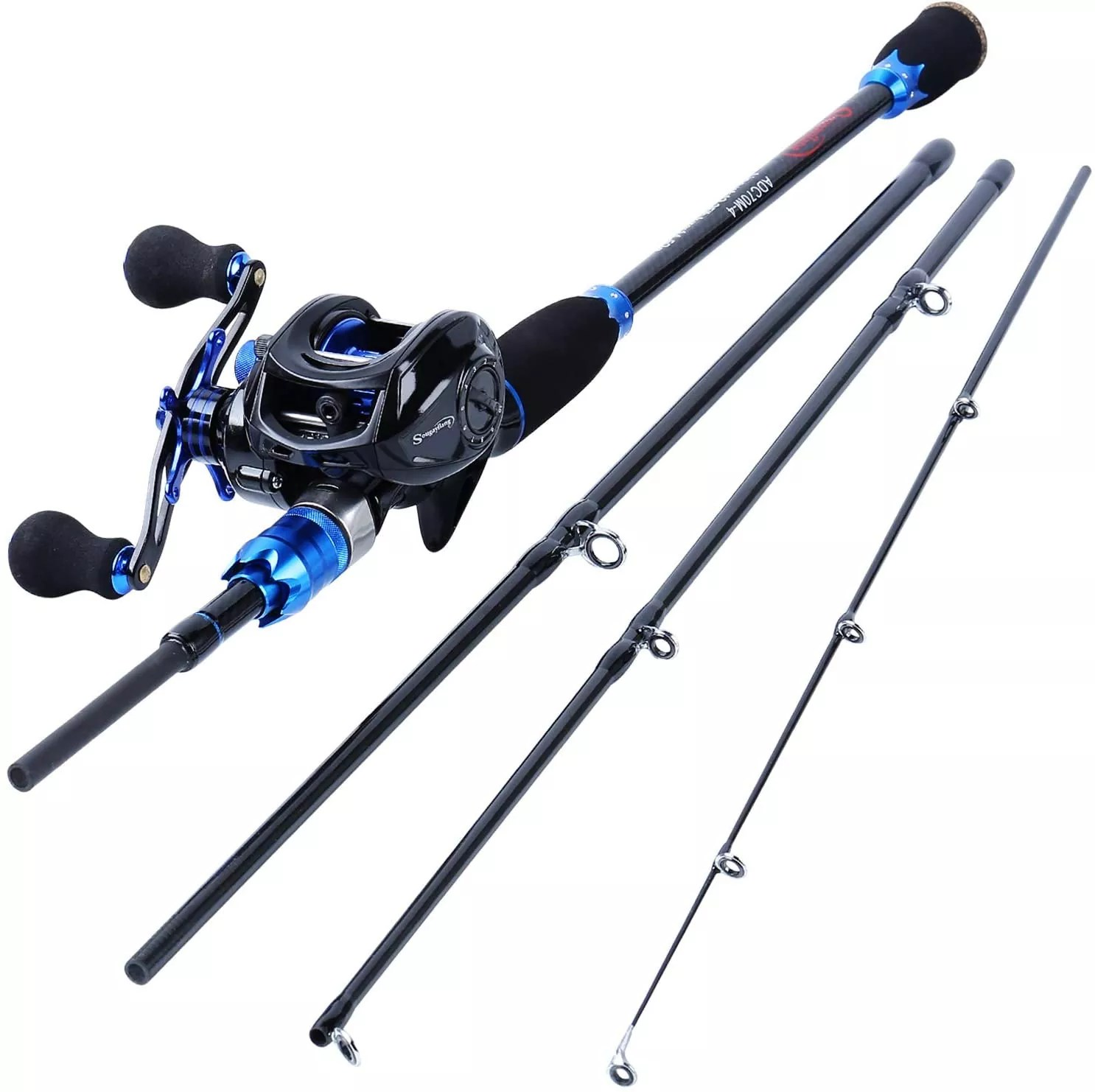 Sougayilang Fishing Rod and Reel Combos, Carbon Fiber Fishing Poles with Baitcasting Reel