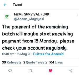 MSME Survival Fund: FG to Begin Payment of the Remaining Batch on Monday 17th 2021