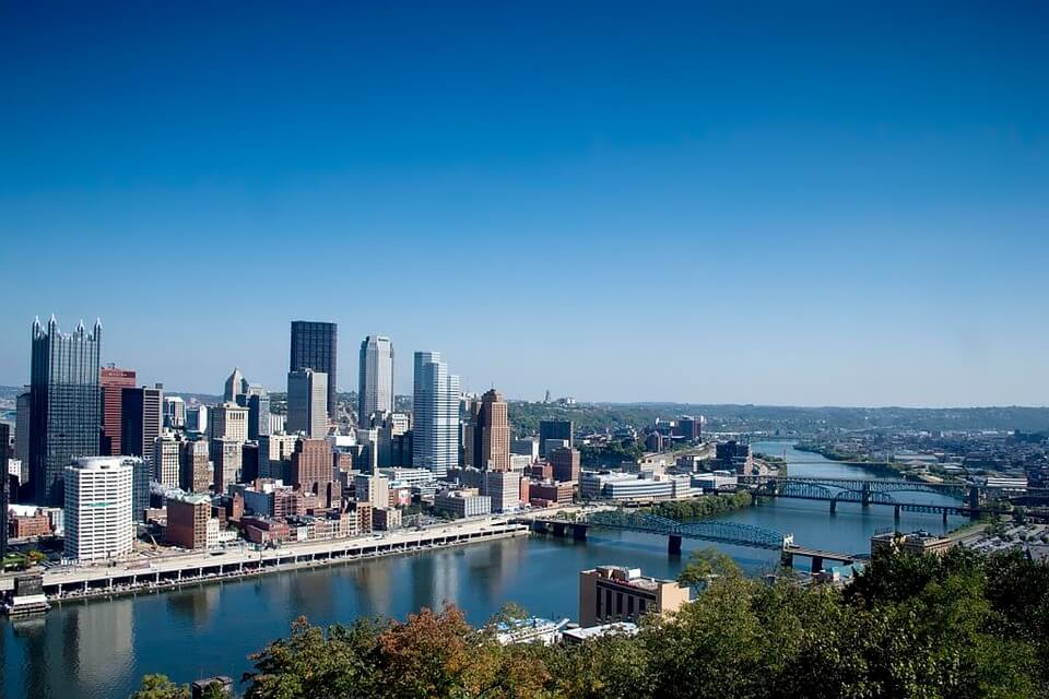an aerial view of Pittsburgh, Pennsylvania