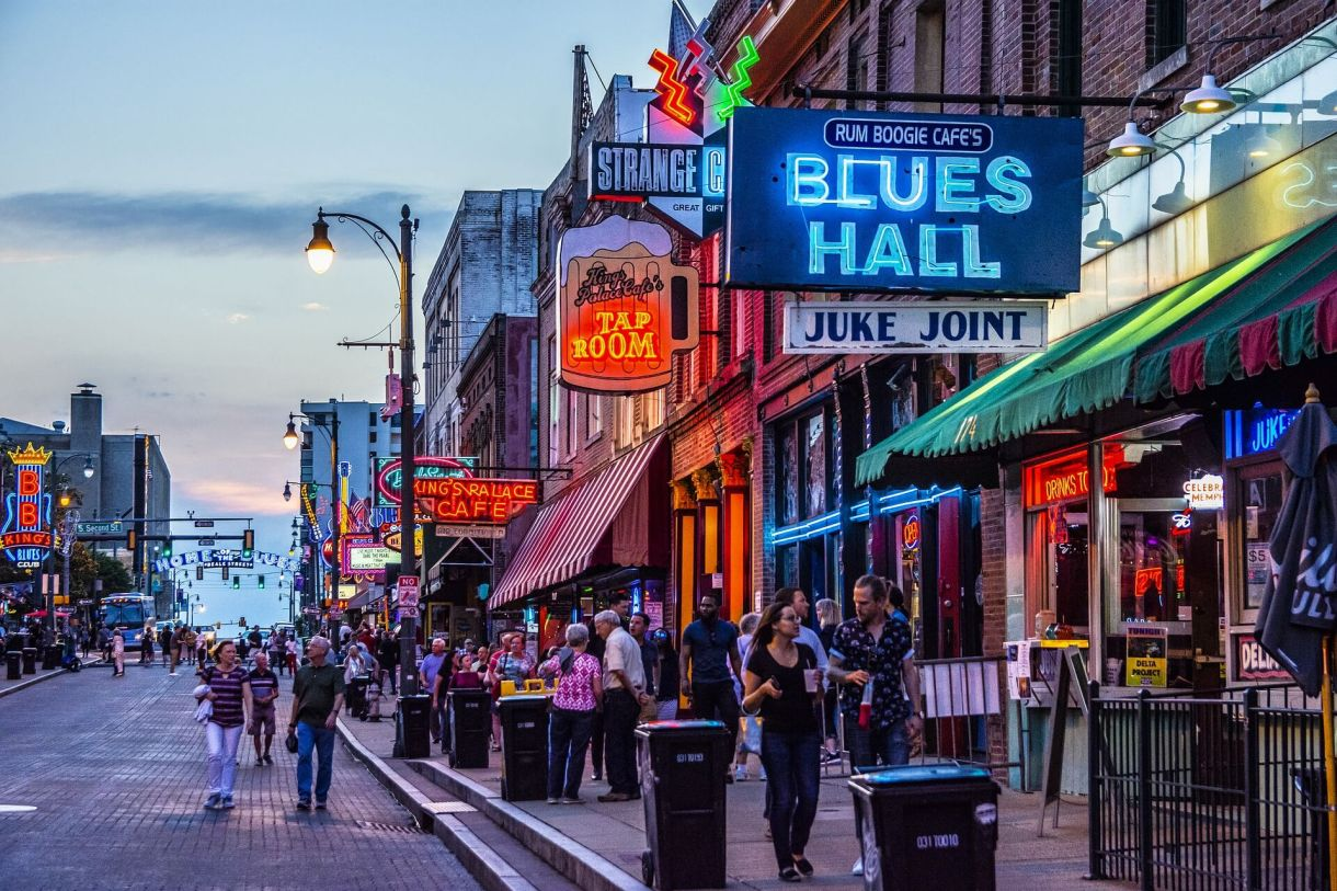 Young people walking down Beale Street in Memphis