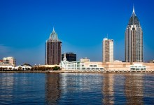 A panoramic view of the Mobile, Alabama skyline - moving to Alabama