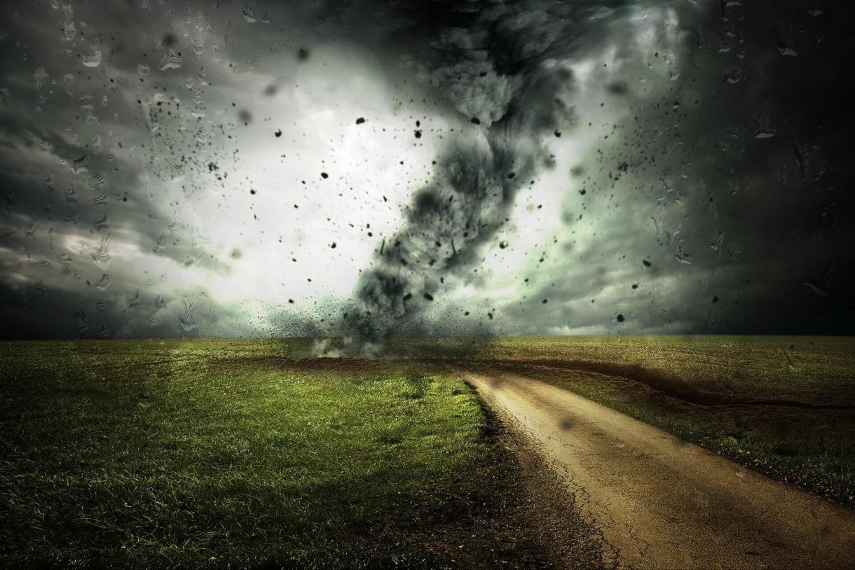 A tornado making landfall