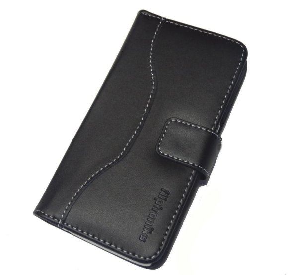 Fliptroniks Galaxy Note 4 Black Real Leather Wallet Case Panther Series