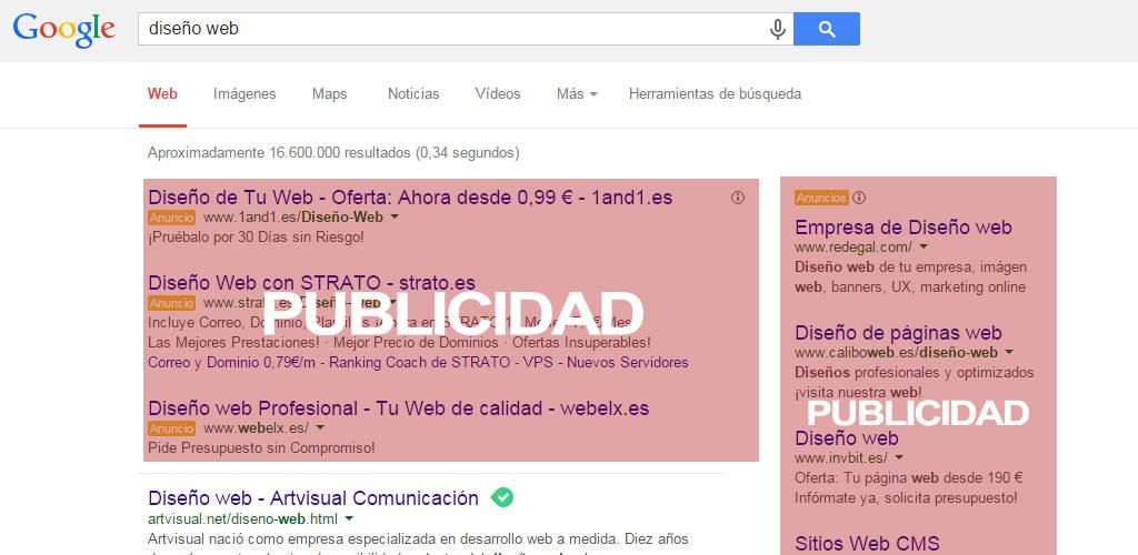 Publicidad con anuncio en google