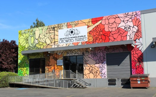 Seattle Wholesale Growers Market - Floral Mural by artist Josephine Rice