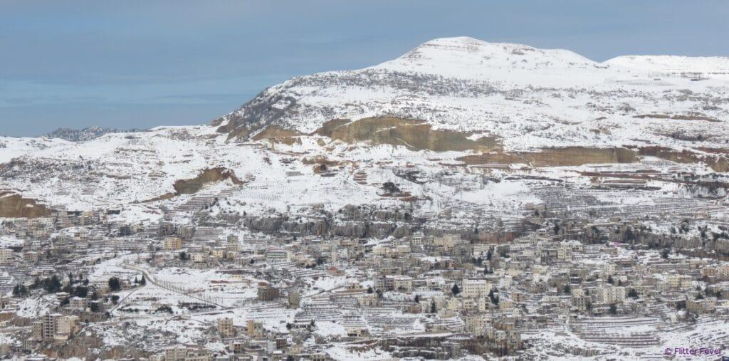 Snow on mountains Beirut Lebanon