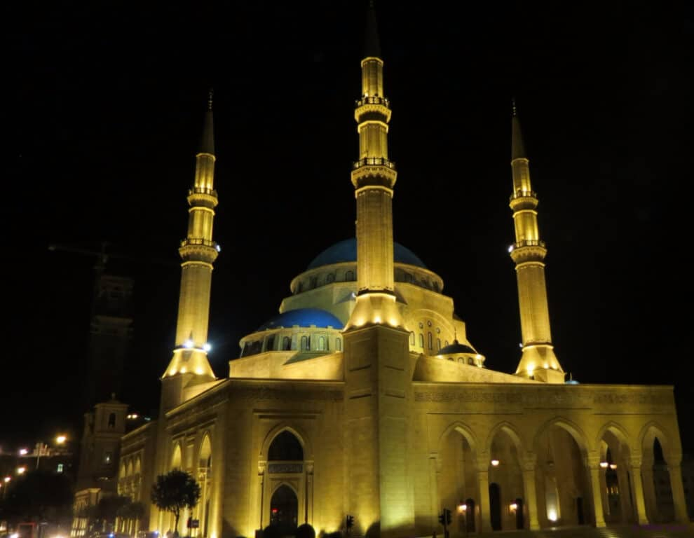 Mohammad Al-Amin Mosque at night
