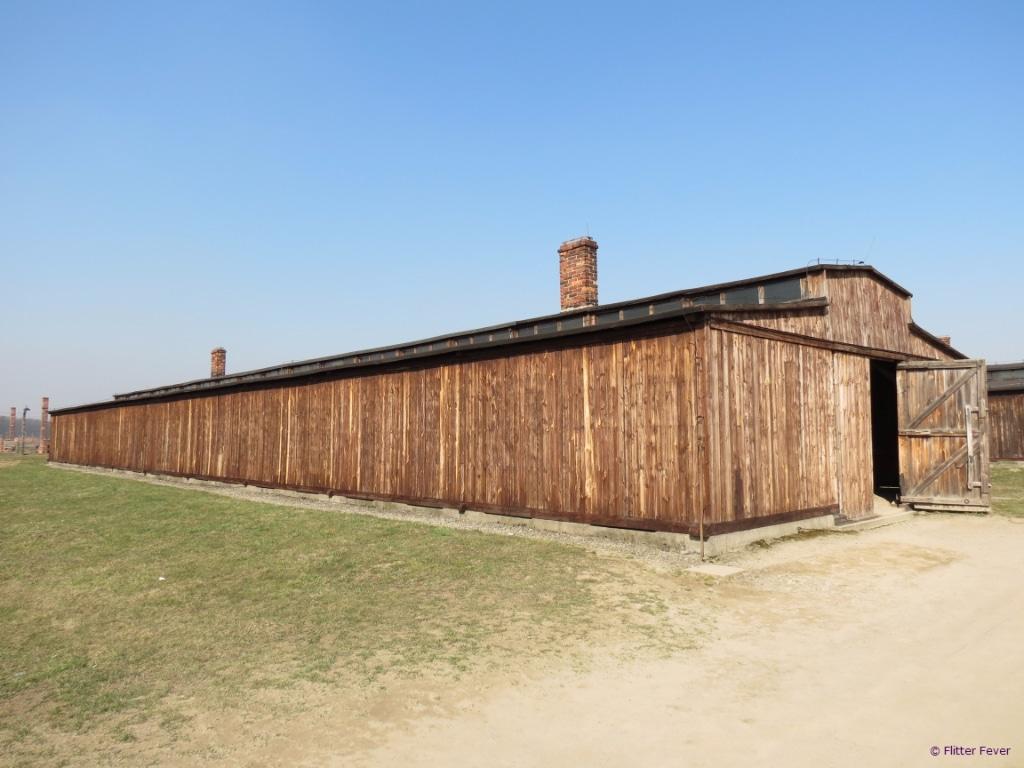 Wooden barracks in camp II Auschwitz Birkenau
