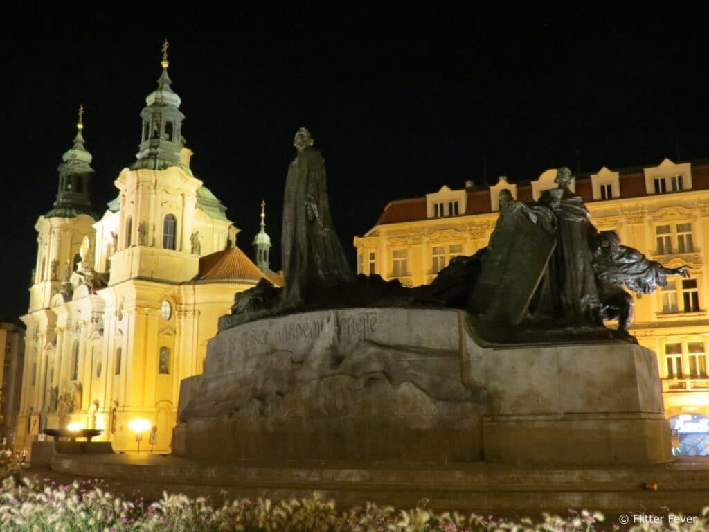 Jan Hus Memorial & the Church of St. Nicholas at Old Town Square Prague
