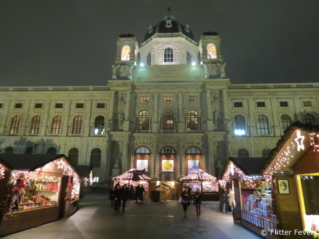 Kunsthistorisches Museum at night Christmas village