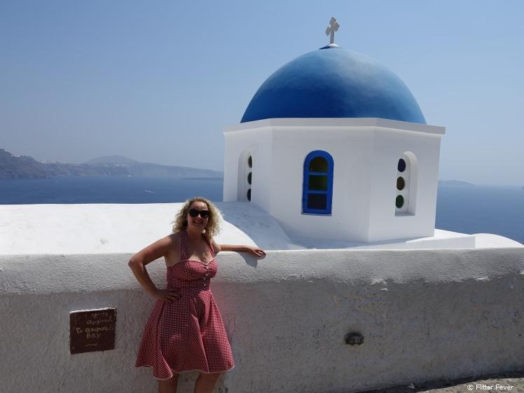 Me @ blue dome church in Oia, Santorini