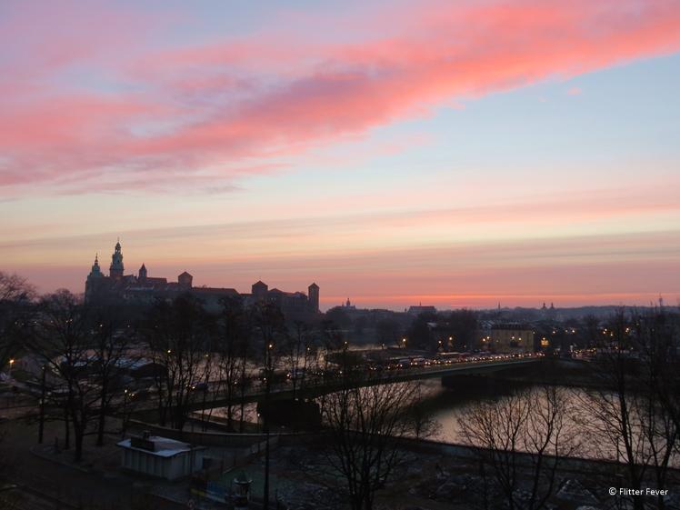 Pink sky above Krakow old town, seen from Novotel Krakow Centrum