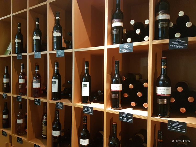 A glimpse of the different bottles of wine offered at Baden-Badener Weinhaus am Mauerberg
