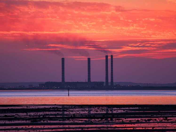 Oil refinery in Kuwait at sunset