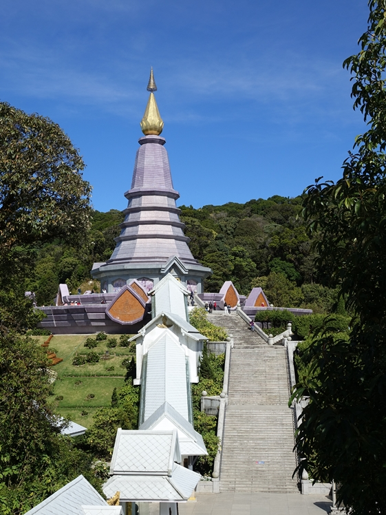Phra Mahathat Naphaholphumisiri with stairs purple pagoda Doi Inthanon NP