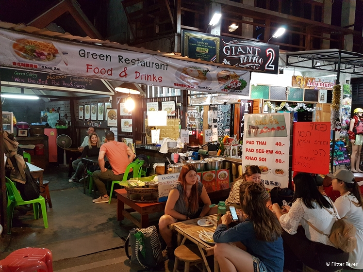 Green Restaurant at the Walking Street of Pai