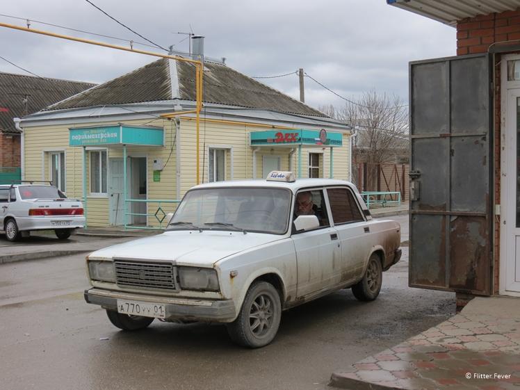 White Lada Taxi in Krasnodar