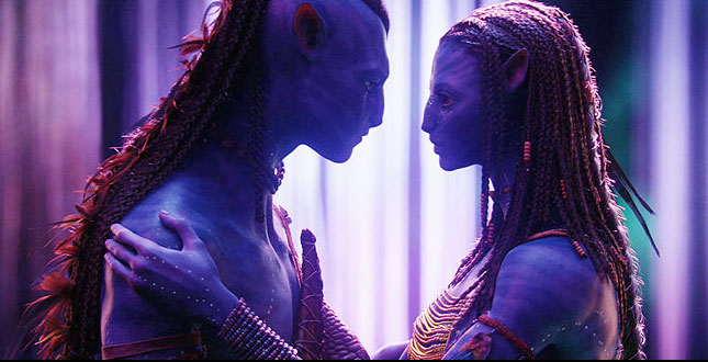 Sam Worthington & Zoe Saldana as Na'vi creatures