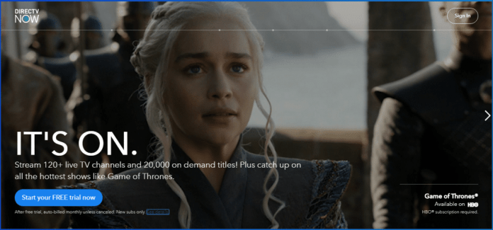DirecTV Now Home Page