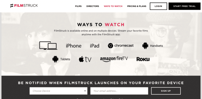 FilmStruck available apps