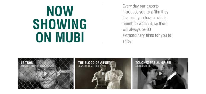 Mubi as streaming art house cinema