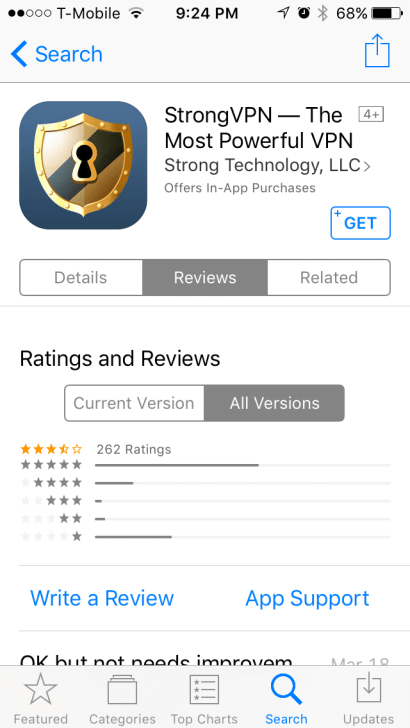 StrongVPN Reviews on iOS App Store
