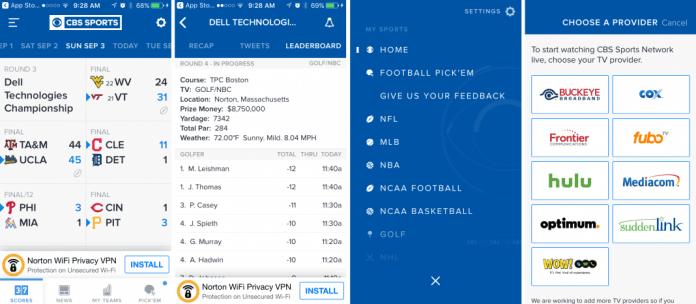 CBS Sports app screenshots