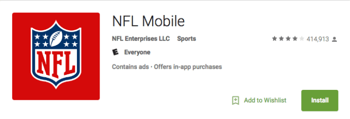 NFL app on Android