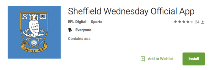 Sheffield Wednesday's iFollow app on Android