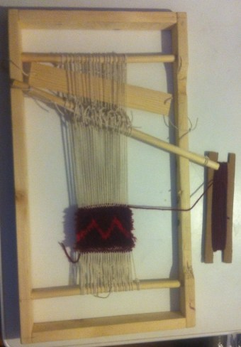 Rug Being Woven on homemade loom