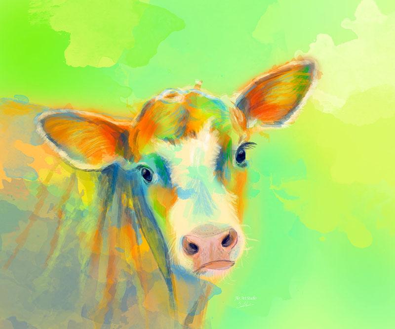 Summer Cow digital painting portfolio