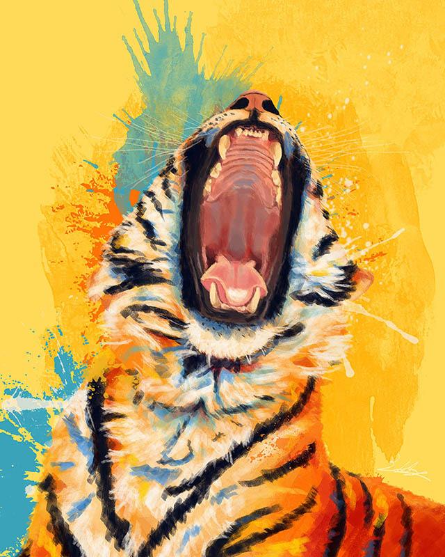 Tiger yawning digital painting portfolio