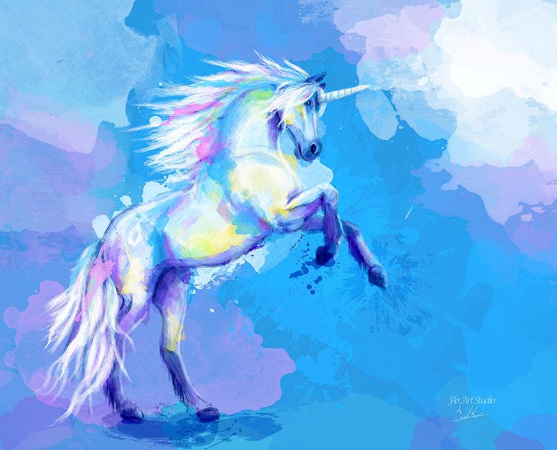 Unicorn digital painting portfolio