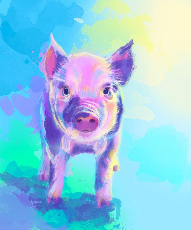 Once Upon a Pig Digital Illustration