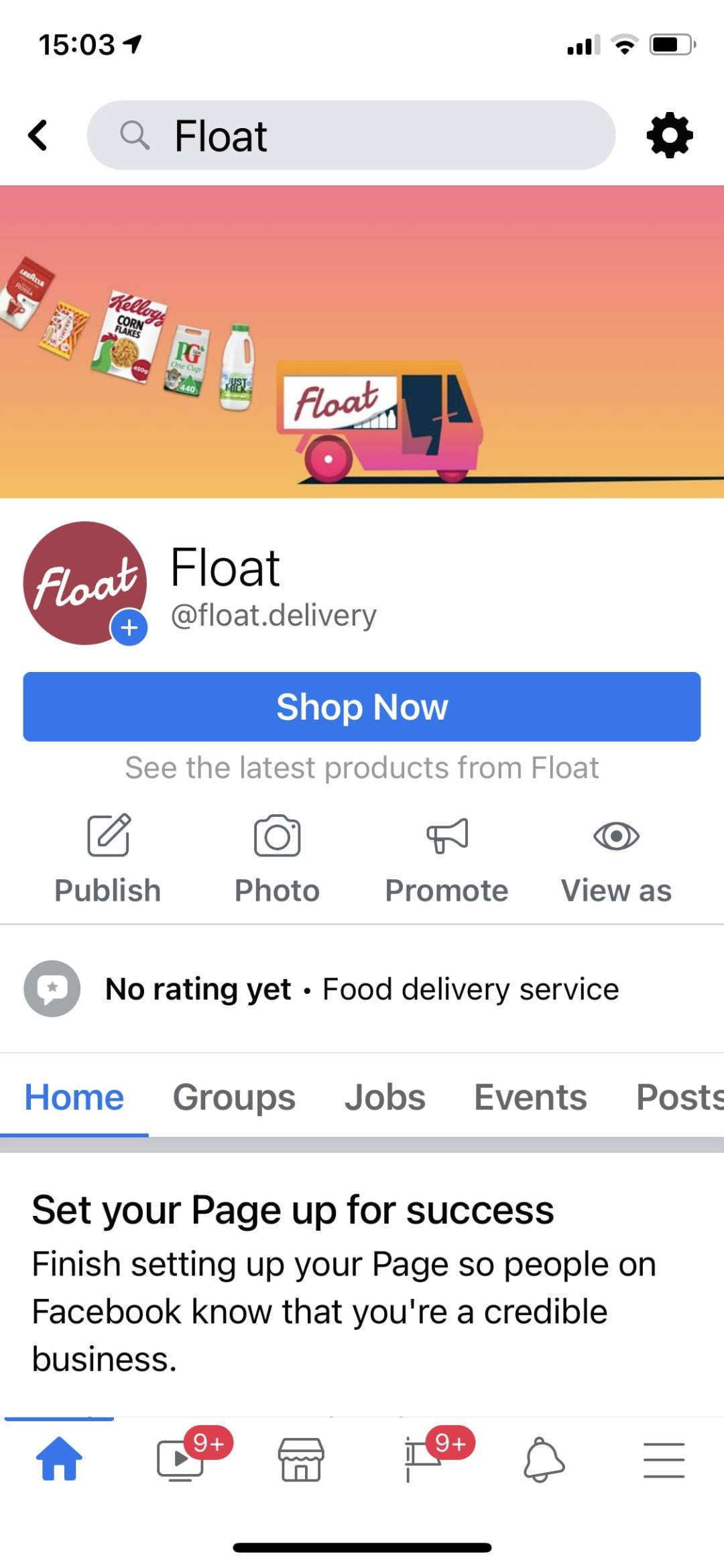 Float on Facebook