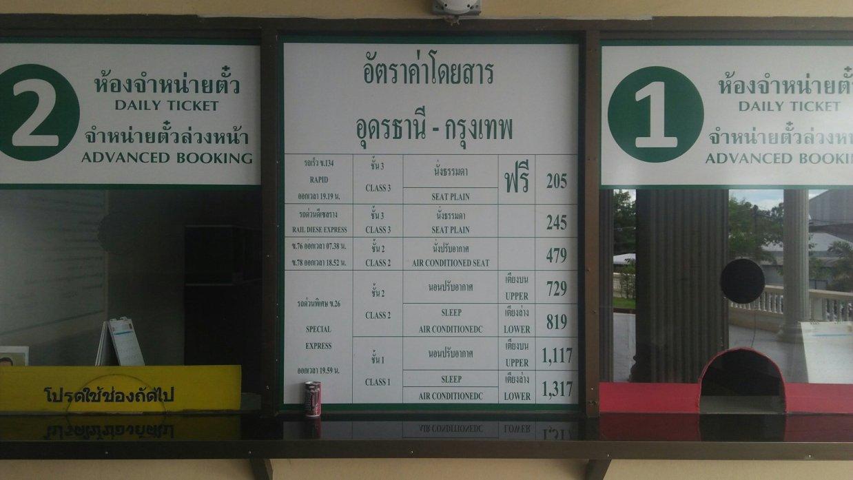 ウドンタニ駅のチケット売り場